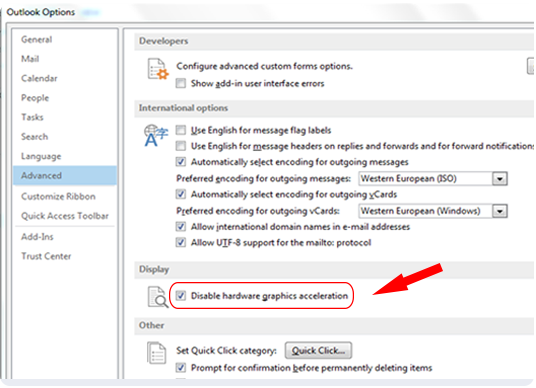 Turn Off Hardware Graphics Acceleration in Outlook 2013